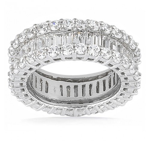 5.68 ct Round cut & Baguette Diamond Eternity Band,  Channel