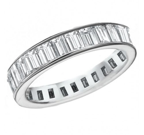 6.12 ct Straight Baguette Cut Diamond Eternity Band,  Channel