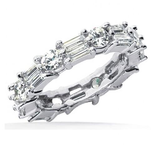 2.96 ct Round cut & Baguette cut Diamond Eternity Wedding Band