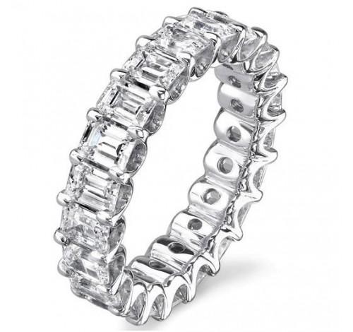 5.50 ct Emerald cut Diamond Eternity Wedding Band, 0.25 ct each,