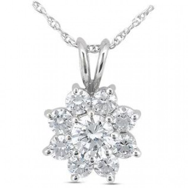 Round diamond pendant 075 ct center 203 tcw flower round diamond pendant 075 ct center 203 tcw mozeypictures Image collections