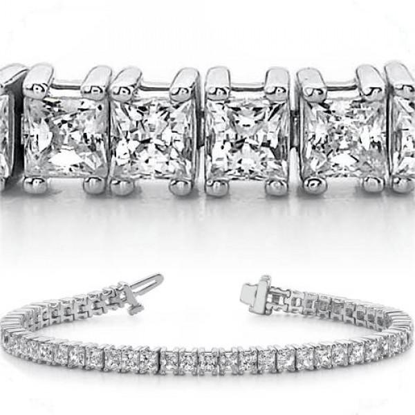 9 35 ct 4 Prong Princess cut Diamond Tennis Bracelet 17 ct each