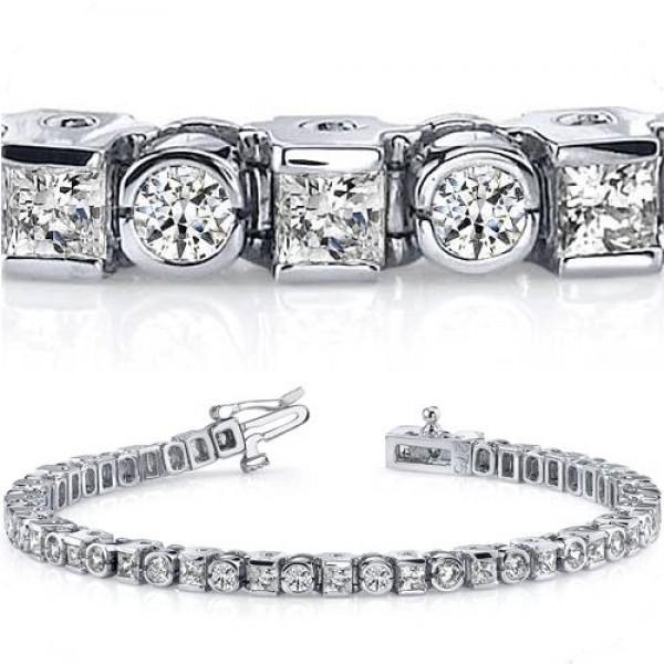 ct Round & Princess cut Diamond Tennis Bracelet Bezel Set