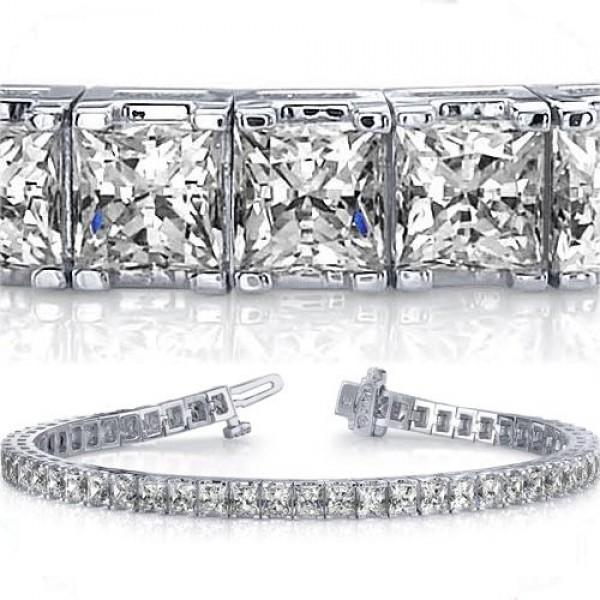 13 Ct Princess Cut Diamond Tennis Bracelet 0 27 Ct Each