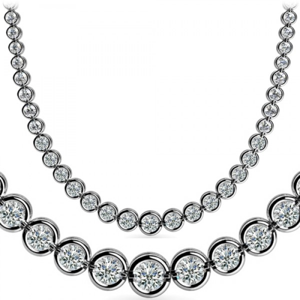circle necklace womens diamond graduated ct white gold open pendant