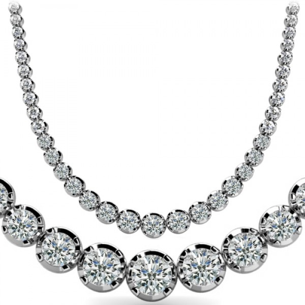 white tennis w gold ct tw riviera p t diamond v in graduated necklace