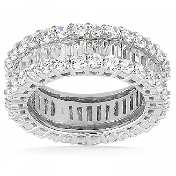 baguette bands platinum eternity round and diamond band l view photos