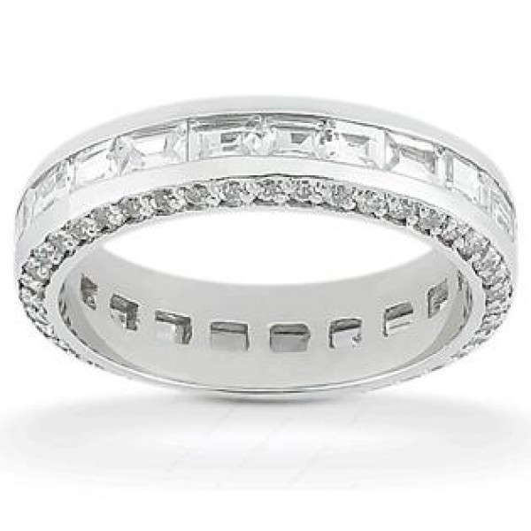 ladies in band stylish cut diamond platinum set wedding ring baguette a princess eternity bands