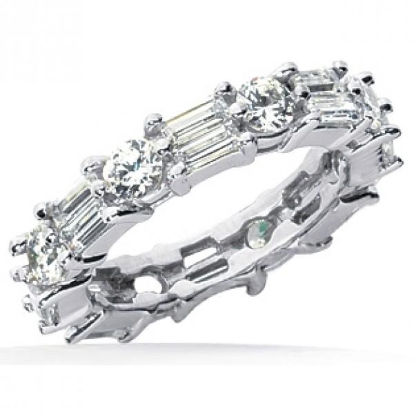 2.96 ct Round cut & Baguette cut Diamond Eternity Wedding Band ...