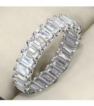 4.60 ct Emerald cut Diamond Eternity Wedding Band, 0.20 ct each,