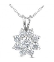 Flower Round Diamond Pendant,  0.75 ct Center,  2.03 tcw