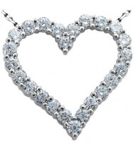 Heart Shape Round Diamond Pendant,  0.20 ct Each,  4.00 tcw
