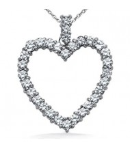 Heart Shape Diamond Pendant,  0.20 ct Each,  3.38 tcw