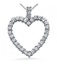 Heart Shape Diamond Pendant,  0.20 ct Each,  3.38 tcw