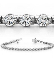 4.80 ct Round cut Diamond Tennis Bracelet, 2 Prong, 0.12 ct each