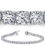 5.88 ct Round cut Diamond Tennis Bracelet, Prong, 0.10 ct each