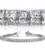 6.60 ct Princess cut Diamond Tennis Bracelet, 0.10 ct each