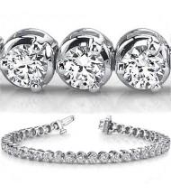 11.20 ct Round cut Diamond Tennis Bracelet, 3 Prong, 0.35 ct eac