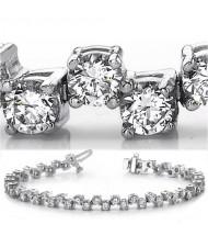 6 ct Round cut Diamond Tennis Bracelet, 14k Gold, 0.10 ct each
