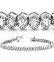 6.90 ct Round cut Diamond Tennis Bracelet, Bezel, 0.13 ct each