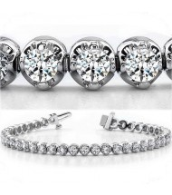 10.50 ct Round cut Diamond Tennis Bracelet, Gold, 0.35 ct each