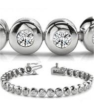 4.05 ct Round cut Diamond Tennis Bracelet, Bezel, 0.15 ct each