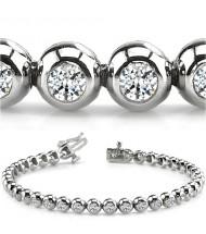 5.10 ct Round cut Diamond Tennis Bracelet, Bezel, 0.17 ct each
