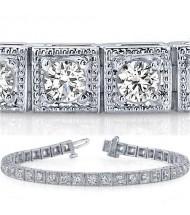 3.78 ct Round cut Antique Style Diamond Tennis Bracelet 0.10 ct
