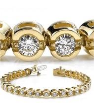 6 ct Round cut Diamond Tennis Bracelet, Half Bezel, 0.19 ct each