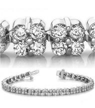 7.04 ct Round cut Diamond Tennis Bracelet 14k Gold, 0.05 ct each
