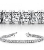 9.35 ct 4 Prong Princess cut Diamond Tennis Bracelet .17 ct each