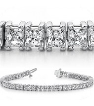 13.44 ct Princess cut Diamond Tennis Bracelet, 0.28 ct each