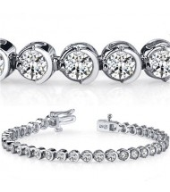 5 ct Round cut Diamond Tennis Bracelet, Half Bezel, 0.13 ct each