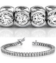 6 ct Round cut Diamond Tennis Bracelet, Half Bezel, 0.11 ct each