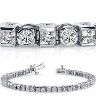 7.59 ct Round & Princess cut Diamond Tennis Bracelet, Bezel Set