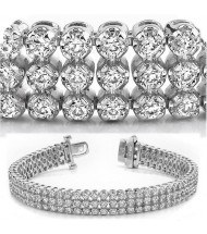 6.34 ct Round cut Diamond Tennis Bracelet, 3 Row, 0.03 ct each