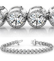 8.25 ct Round cut Millgrain Diamond Tennis Bracelet 0.25 ct each