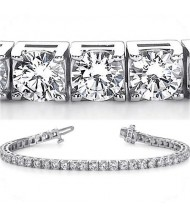7.70 ct Round cut Diamond Tennis Bracelet, Prong, 0.16 ct each