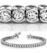 8 ct Round cut Diamond Tennis Bracelet, Half Bezel, 0.17 ct each