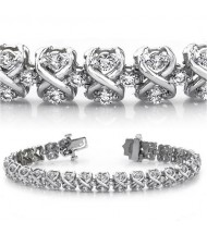 5 ct Round cut Diamond 14k Gold Bracelet, 0.06 ct each