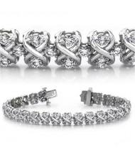 5 ct Round cut Diamond 14k Gold Bracelet, 0.06 ct each
