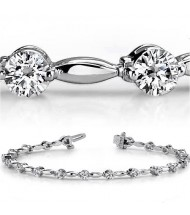 3 ct Round cut Diamond 14k Gold Bracelet, 0.15 ct each