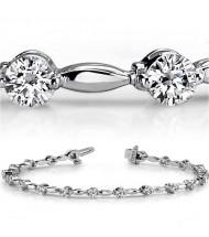 3 ct Round cut Diamond 14k Gold Bracelet, 0.15 ct each
