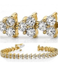 8 ct Round cut Diamond 14k Gold Bracelet, 0.09 ct each