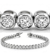 3.87 ct Round cut Diamond Tennis Bracelet, Bezel, 0.09 ct each