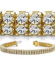 8 ct Round cut Diamond 14k Gold Bracelet, 2 Rows, 0.08 ct each