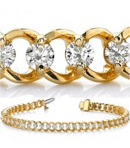 3.06 ct Round cut Diamond 14k Gold Bracelet, 0.09 ct each