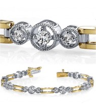 1.01 ct Round cut Diamond 14k Two Tone Gold Bracelet