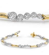 3 ct Round cut Diamond Two Tone Gold Bracelet