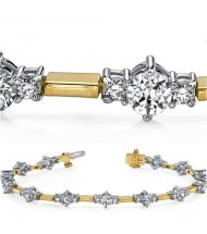 4 ct Round cut Diamond Two Tone Gold Bracelet
